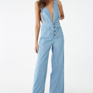 Forever 21 Women's Blue Chambray Pinafore Jumpsuit